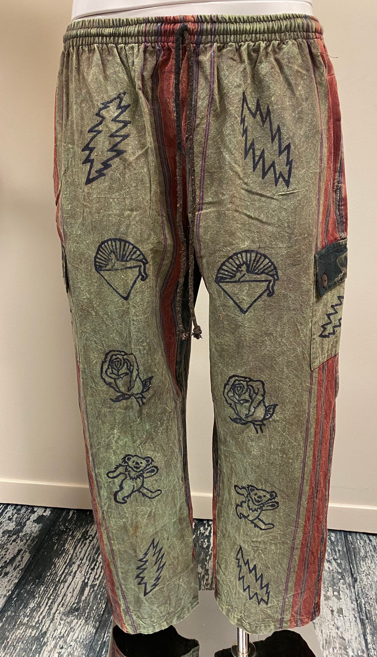 Nepali Shayama Cargo Pants with Grateful Dead or Astamangala Hand Block Printing