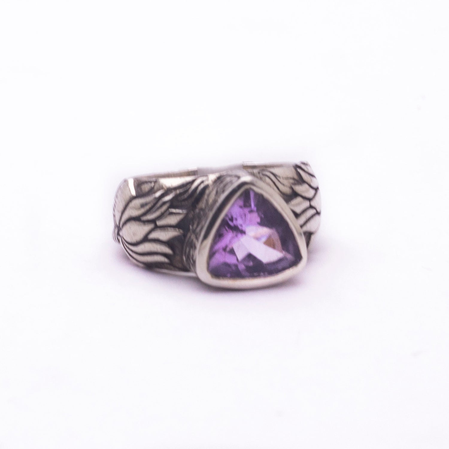 Beautifully Detailed Sterling Silver Hand carved  Lotus Flower ring -- Available in 5 stones