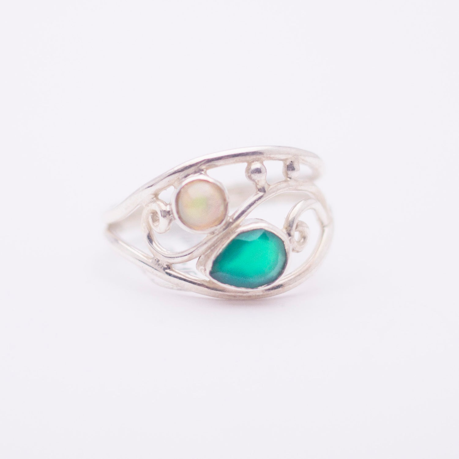 Sterling Silver Double Stone ring - Available in 8 Stones