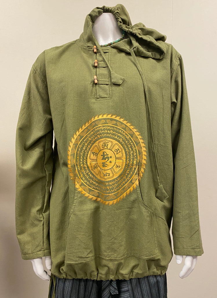 Mens 100% Cotton Long sleeve Hoodie with Chinese buttons - 3 Prints Availbale