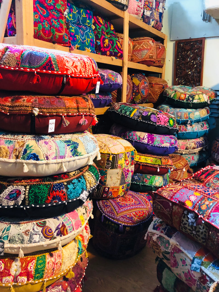 Large Embroidered Rajasthani Patchwork Floor Pillows Golds