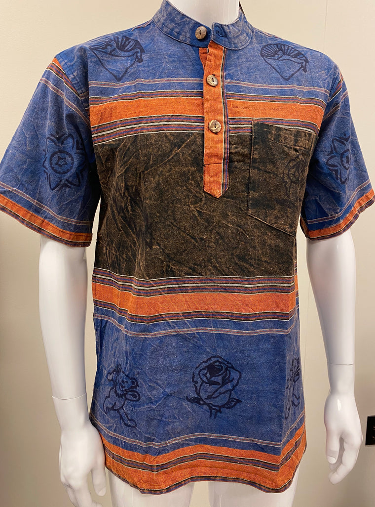 Mens No Collar Short sleeve Shirts  with Grateful Dead or Astamangala Hand Block Printing