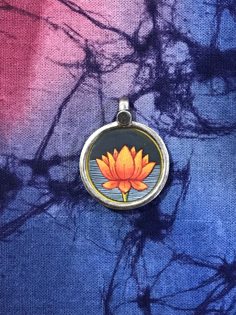 Sterling Silver Hand Painted Lotus Flower Pendant 20mm