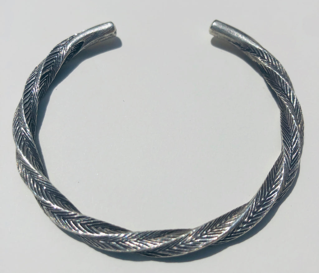 Sterling Silver Twisted hammered Hill Tribe Cuff Bracelet