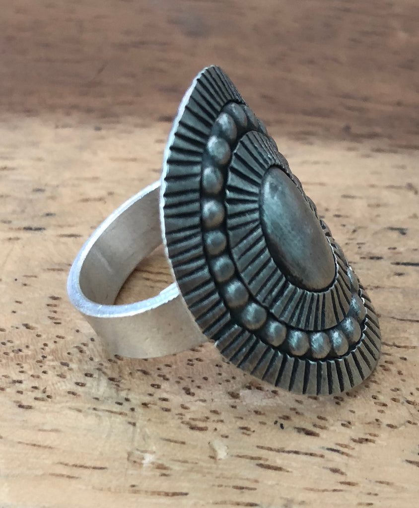 Handmade Sterling Silver Thai Hill Tribe Ring Adjustable 7-9