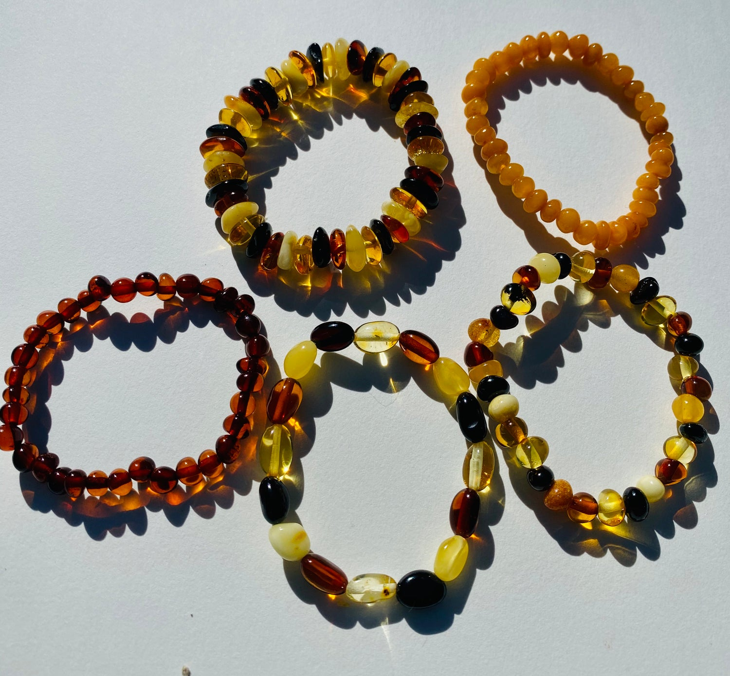 Stretchy Amber Childrens Bracelets Multi Color