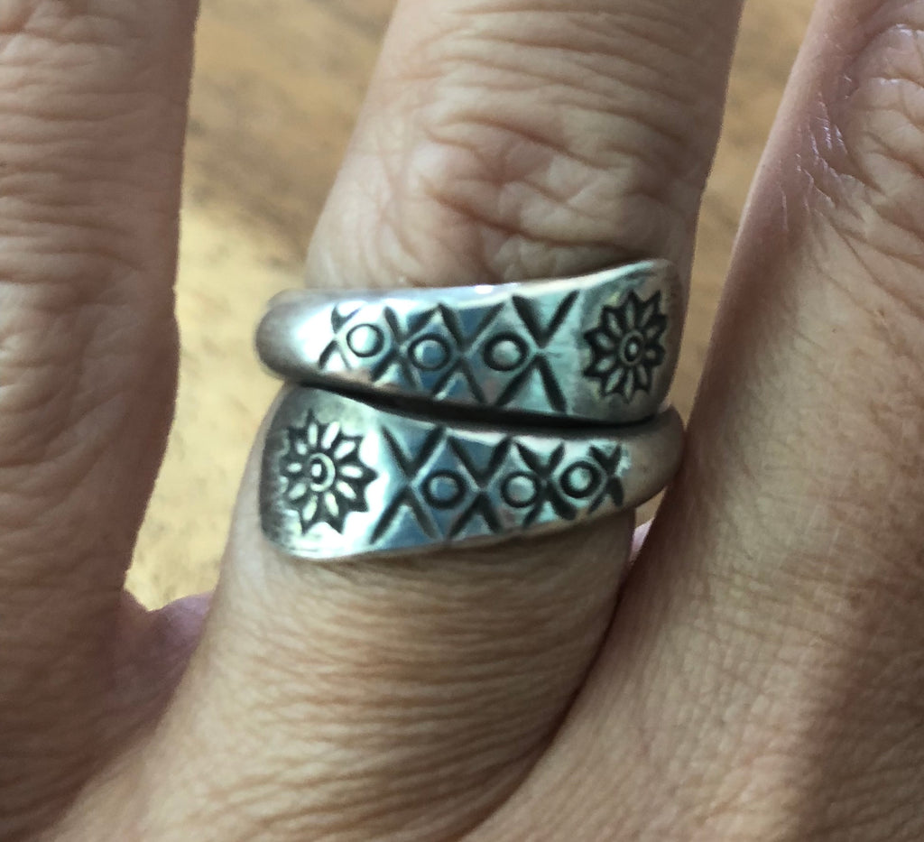 Handmade Sterling Silver Thai Hill Tribe Etched Wrap Ring