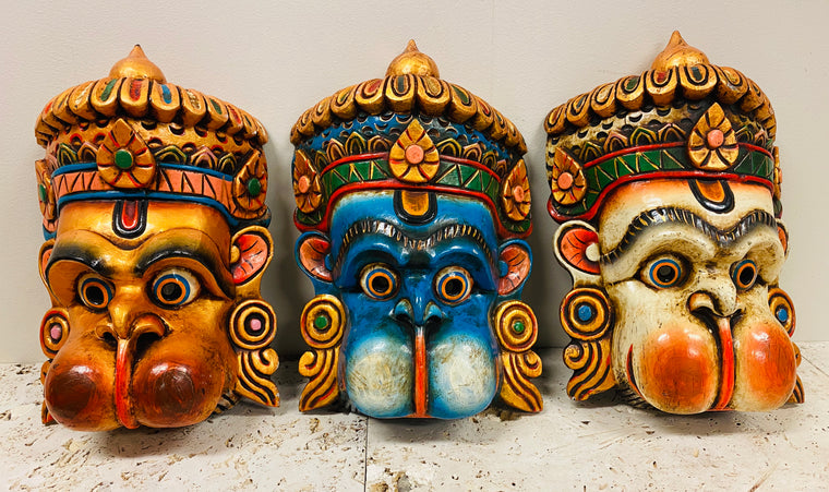 Hand Carved and Painted Hanuman Masks from Nepal - Available in 2 Sizes