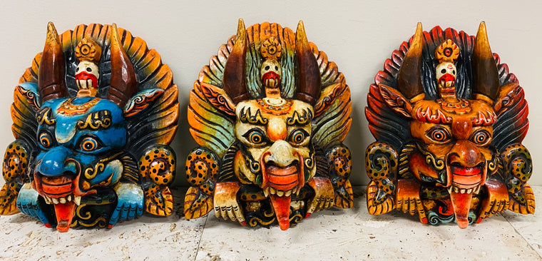 Hand Carved and Painted Cheppu Masks from Nepal