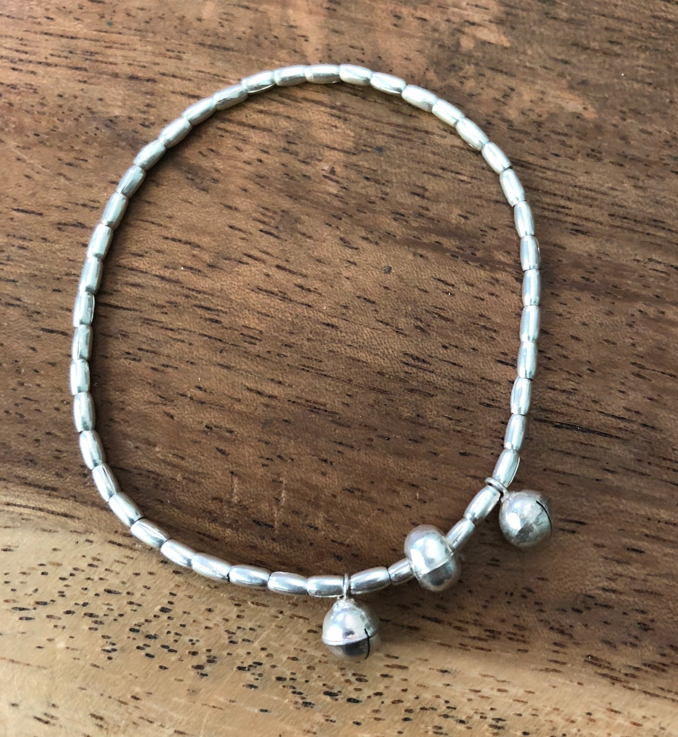 Handmade Sterling Silver Stretchy Thai Hill Tribe Bracelet with Bell