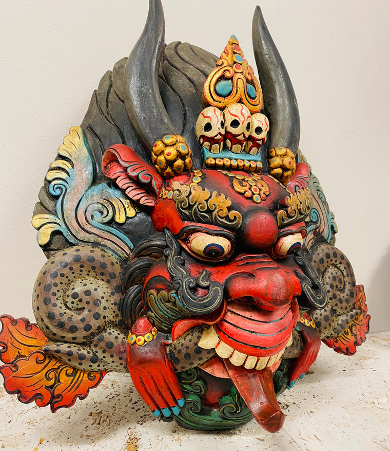 Hand Carved and Painted Cheppu Masks from Nepal 24