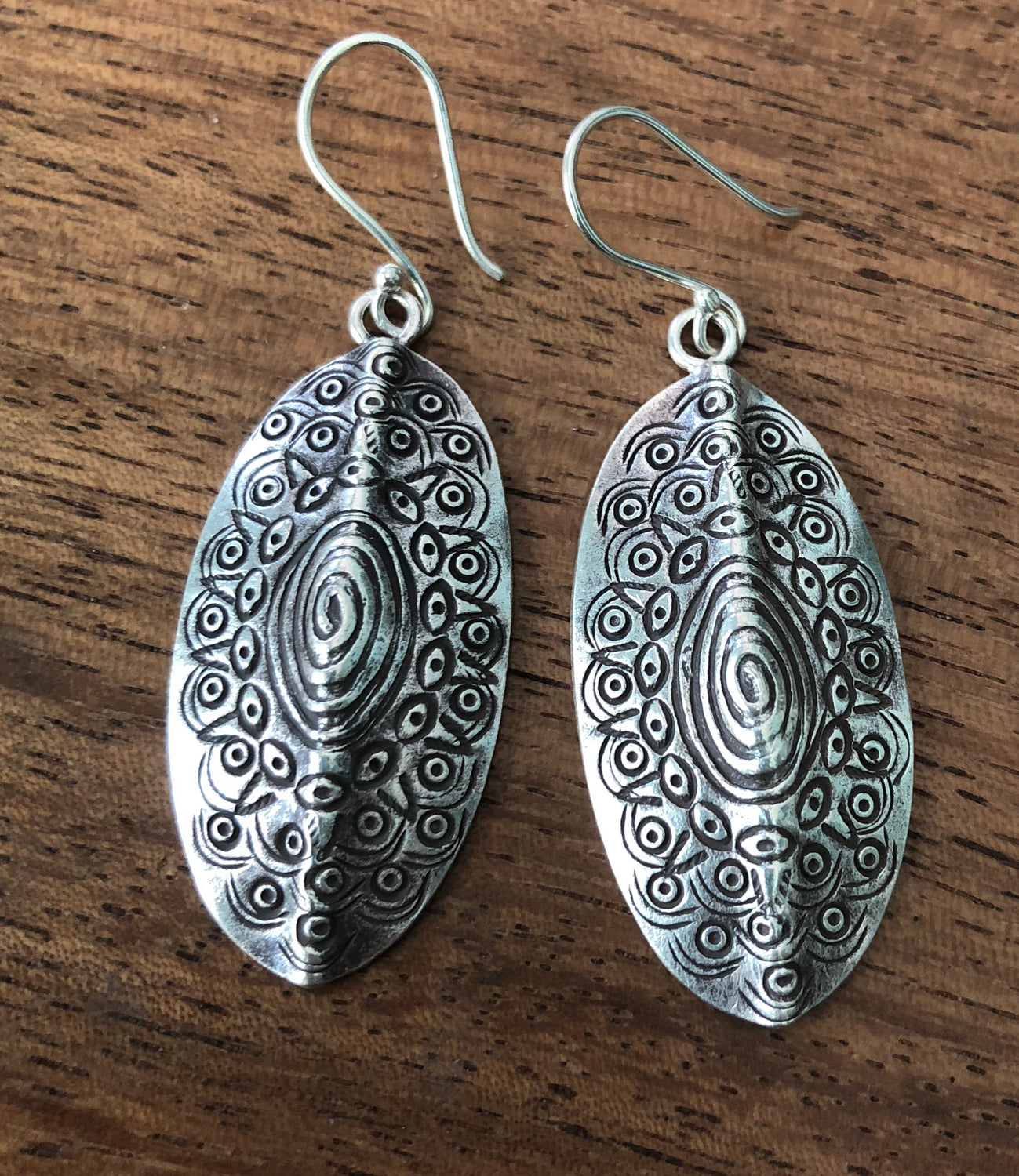 Handmade Sterling Silver Thai Hill tribe Etched Earrings 2 styles