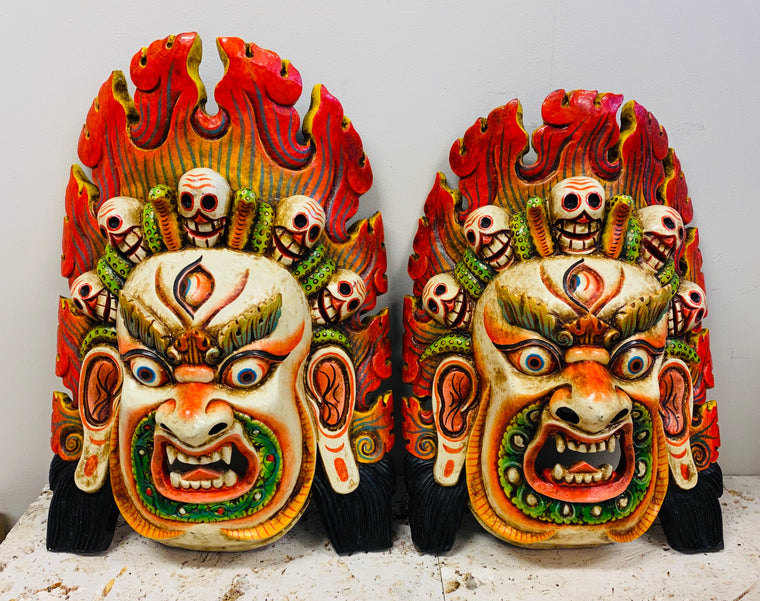 XXL Hand Carved and Painted Bhairav Mask From Nepal Guardian of the Wheel of Life
