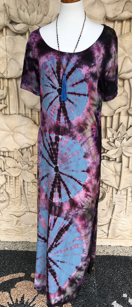 Long Rayon Dress Tie dyed short sleeve