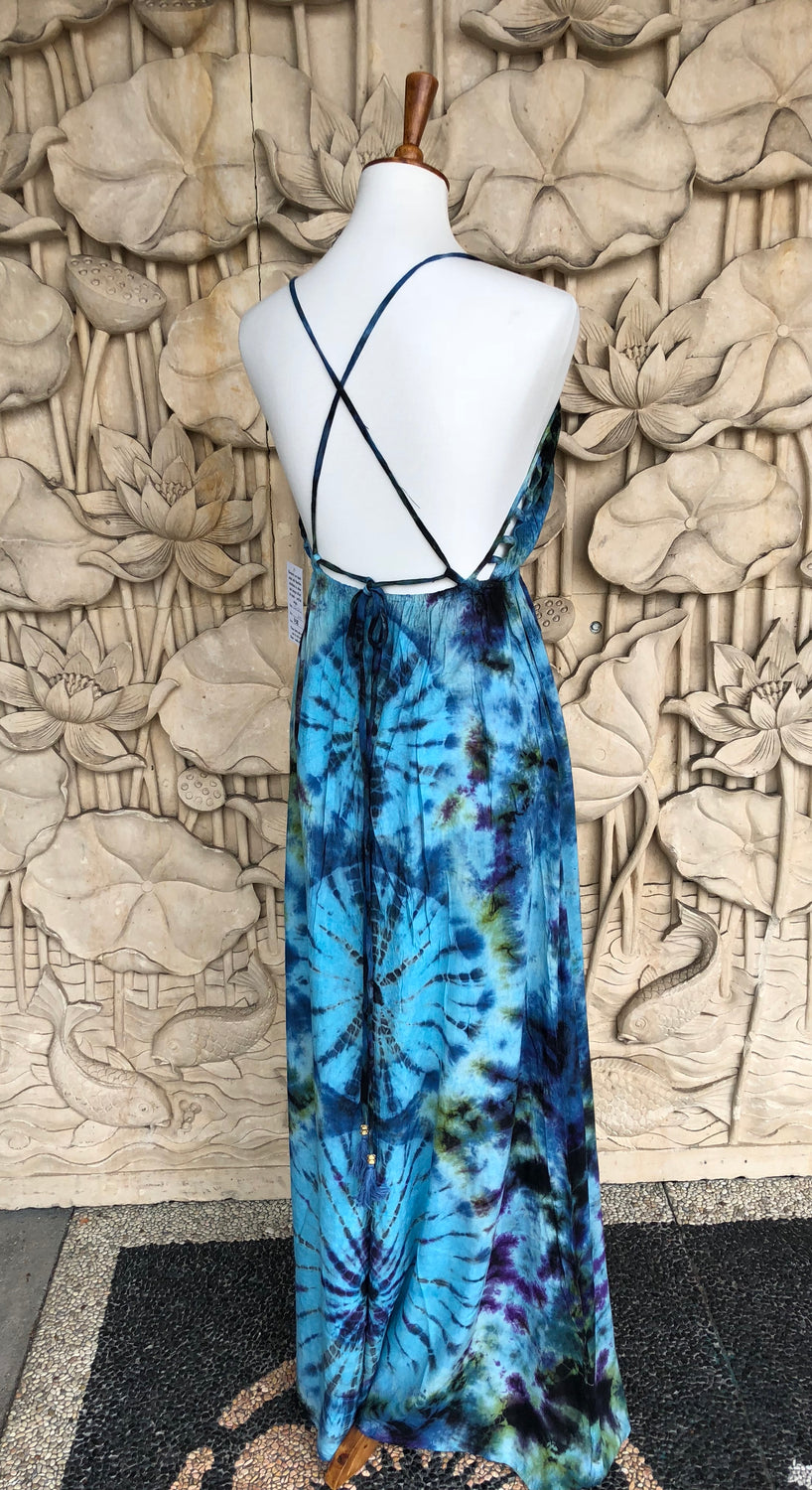 Long Dress Tie dyed net bra