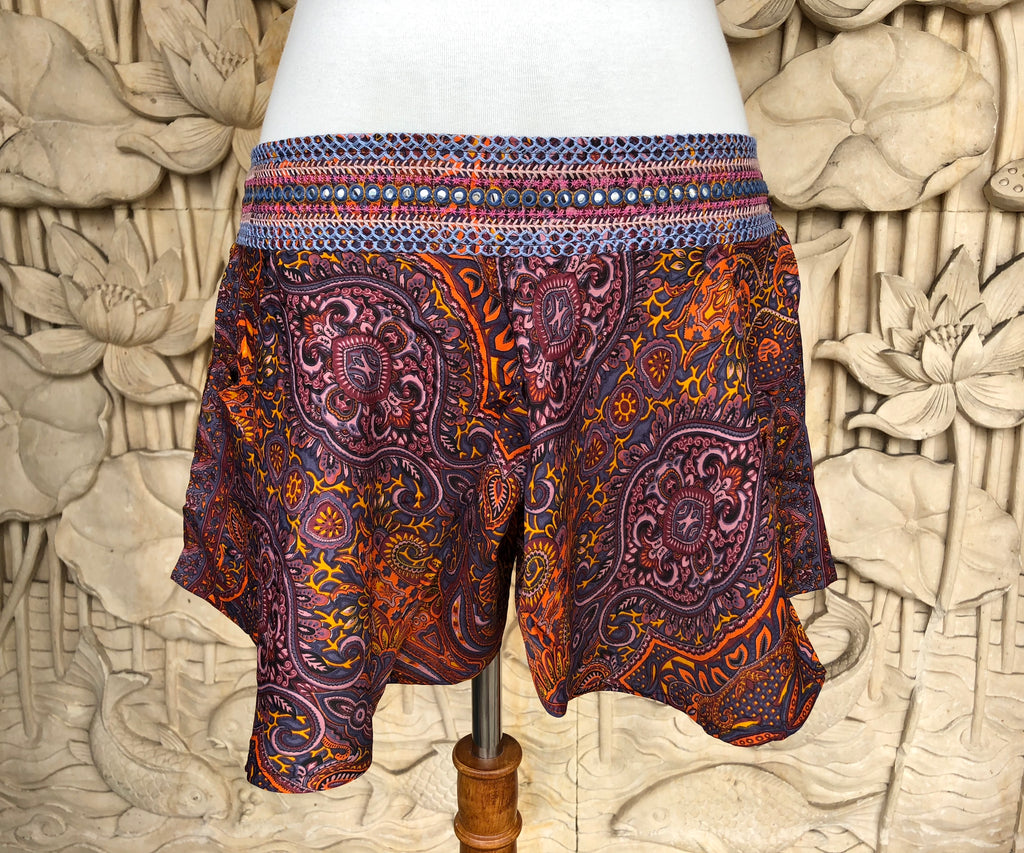 Flowing Shorts  Embroidered waistband with tiny mirror work