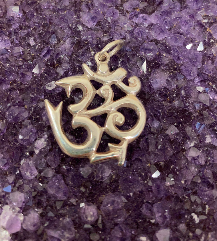 Sterling Silver Nepalese Om Pendant