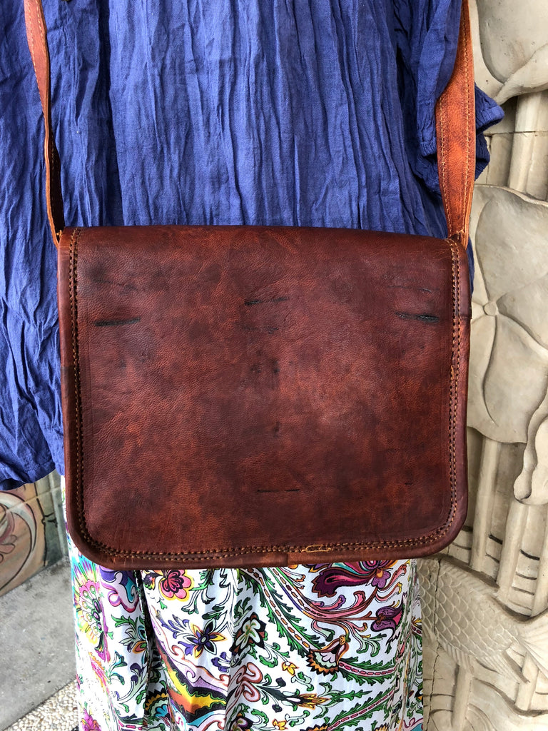 "Hand Made Camel Leather bag 11"" x 10"" 2 pocket top handle"