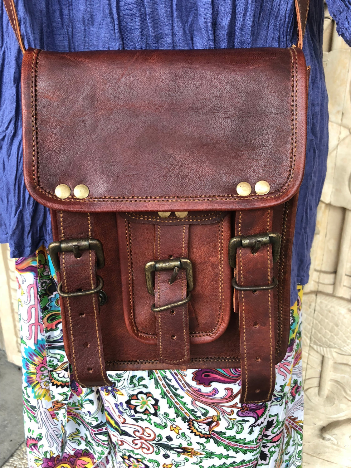 "Hand Made Camel Leather bag 1 Front pocket 9"" x 7"""