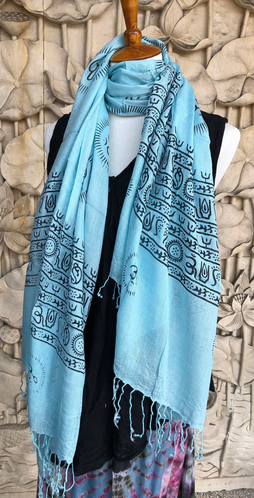 Light Rayon Prayer Scarves w Mantras and fringe 11 Colors