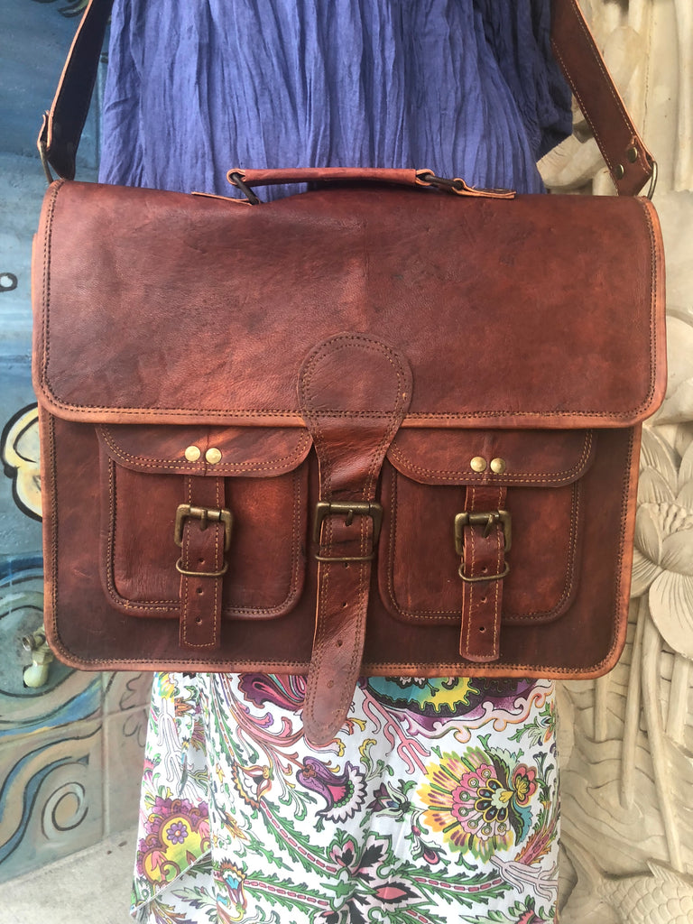 "Hand Made Camel Leather Messenger Bag 15"" x 12"" 2 Front pocket"