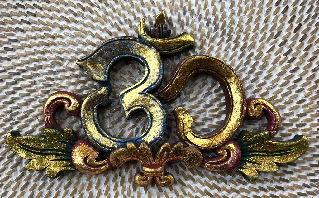 Balinese Om Hand Carved and Painted with Gold Leafing