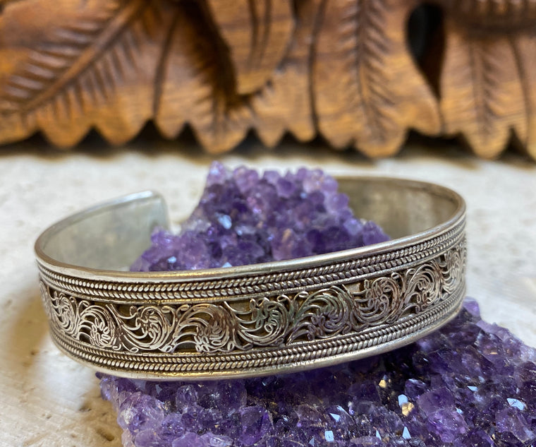 Sterling Silver Hand Filligree work Cuff Bracelet from Nepal