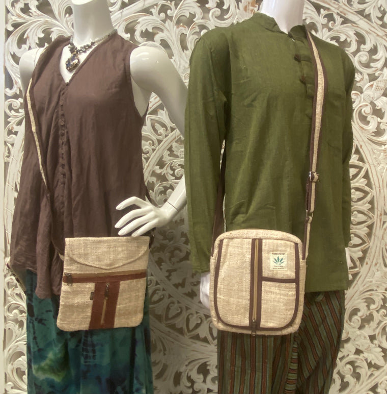 Unisex 100% Hemp Shoulder Bags - Available in  2 styles