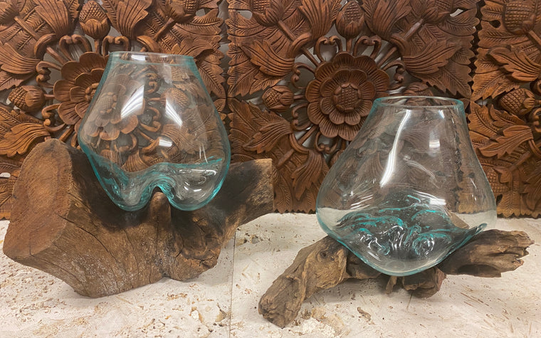 Hand blown Glass and Driftwood Terrarium or Fish Bowl - Large