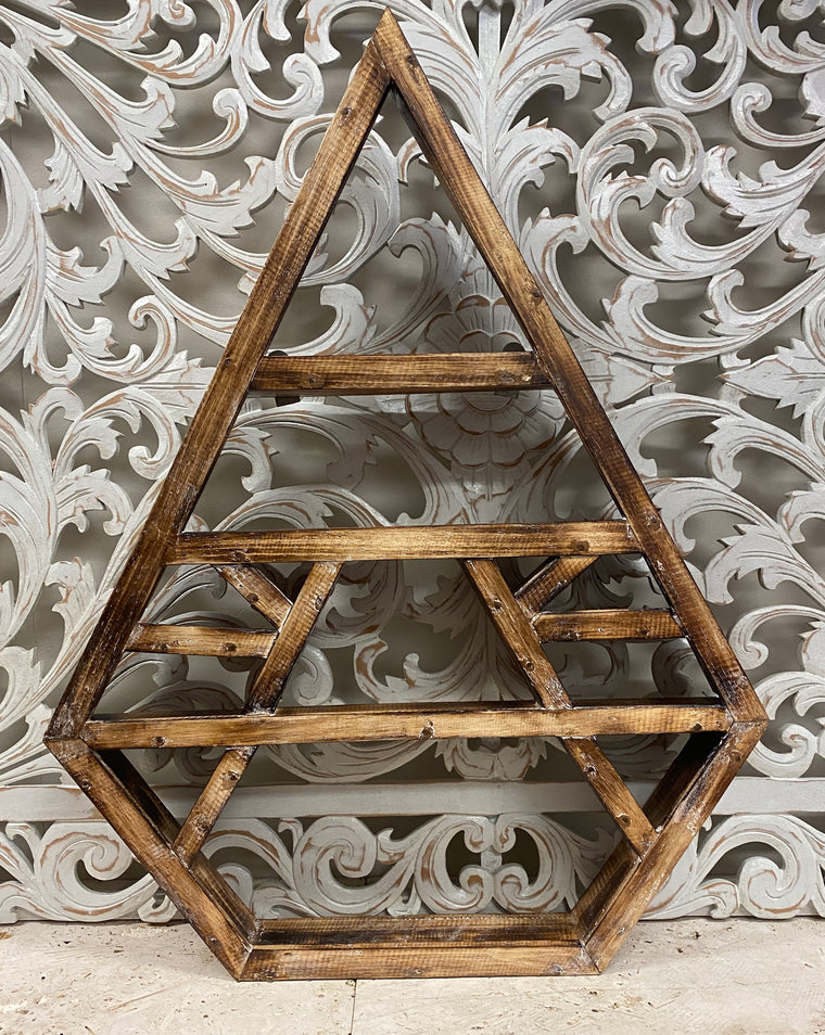 Arbesia Wood Diamond wall shelf for your crystal collection! 30