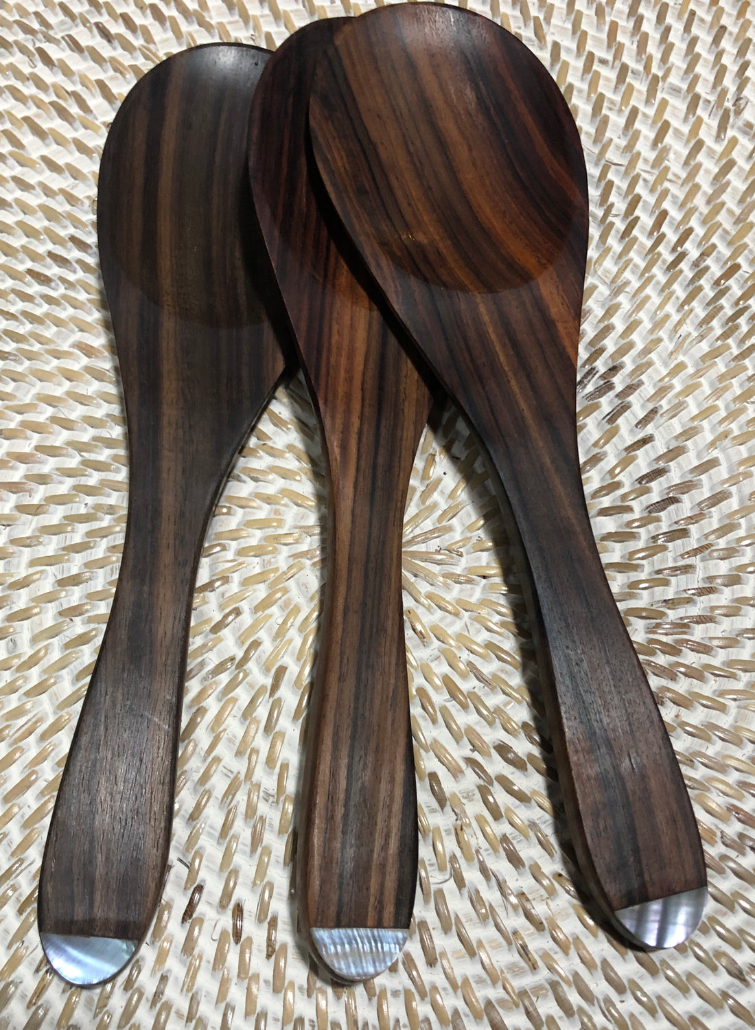 Sono Wood Serving Spoon with Abalone Inlay on Handle 10""