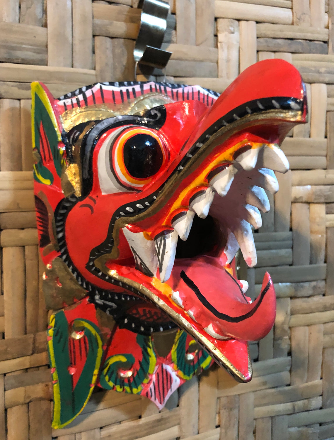 Hand Carved & Painted Garuda Masks Red