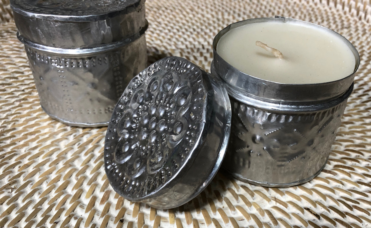 Scented Candle in Hand Hammered Aluminum Offering Boxes with Lids Round - 6 Scents