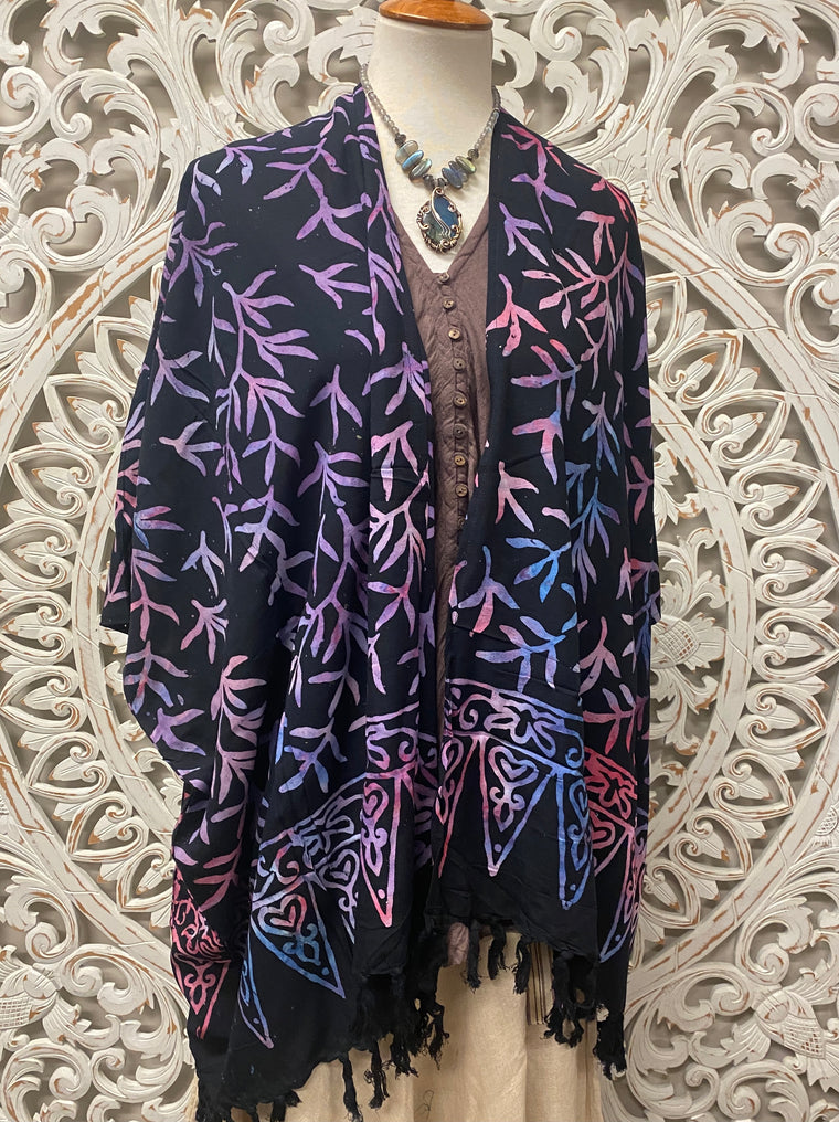 Hand Batiked Jacket with fringe from Bali - 20 colors available!