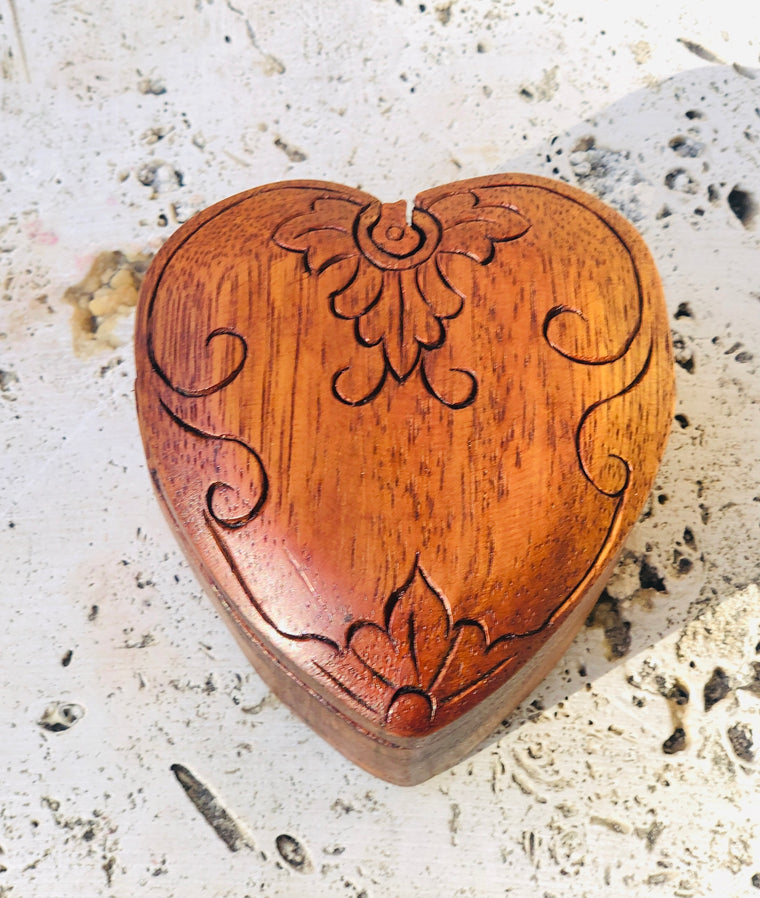 Hand Carved Wooden Heart Puzzle Box