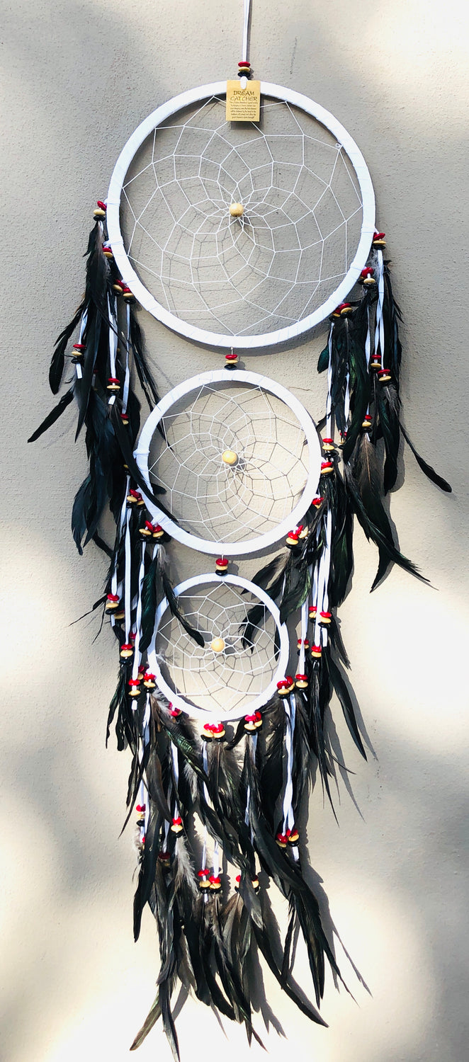 XL-XXL Dream Catchers with Swan Feathers Black, White or Brown Suede 72""