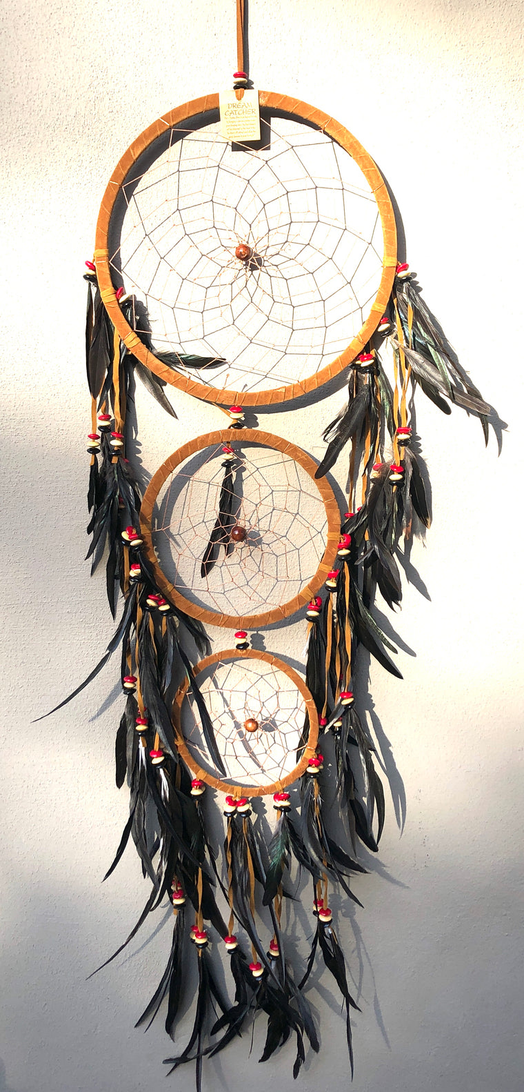 XL-XXL  Dream Catchers with Swan Feathers Black, White or Brown Suede 72