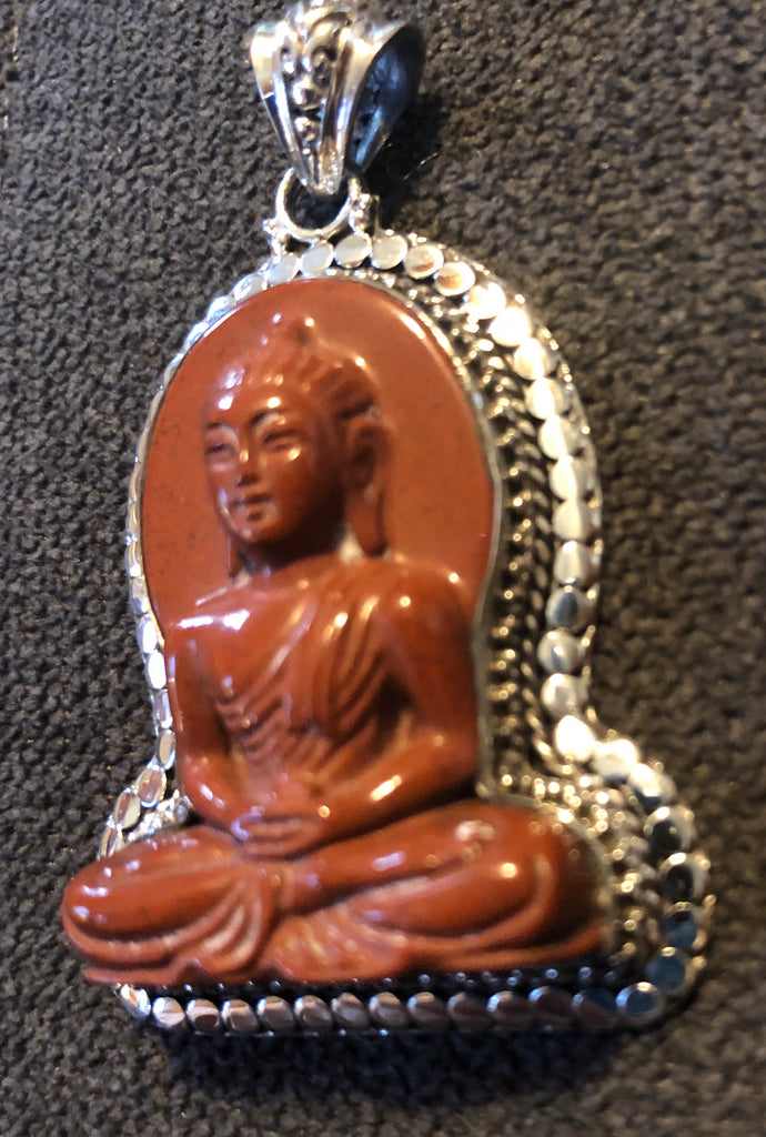 Sterling Silver Pendant Handcarved Red Jasper Buddha