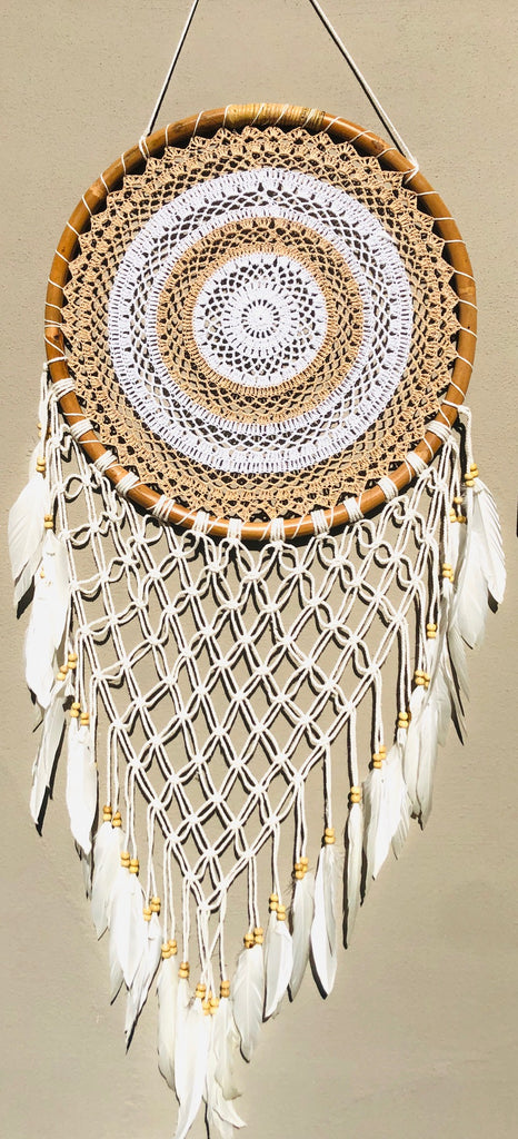 Crochet Dream Catchers with Swan Feathers & Long Fringe