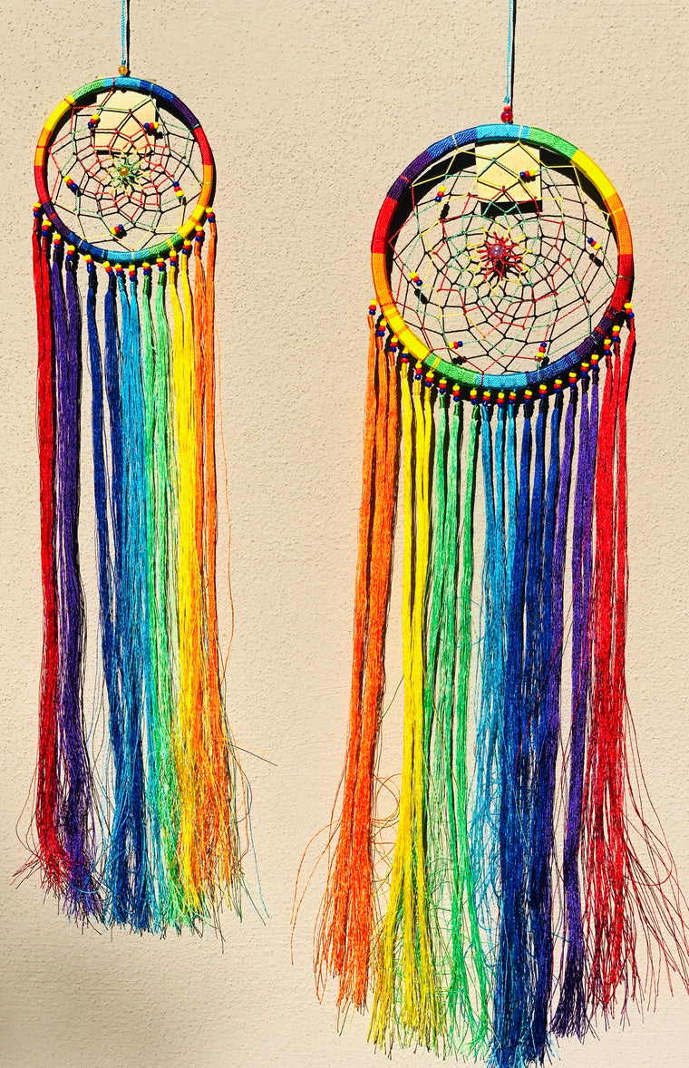 Rainbow Chakra Dream Catcher with Fringe - Two Sizes