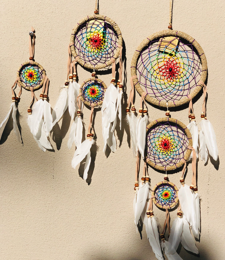 Rainbow Center Dream Catcher w/ Swan Feathers & Jute Braided Hoop - 3 Sizes