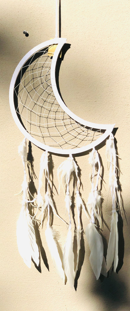 Crescent Moon Dream Catchers with Swan Feathers - 3 Colors