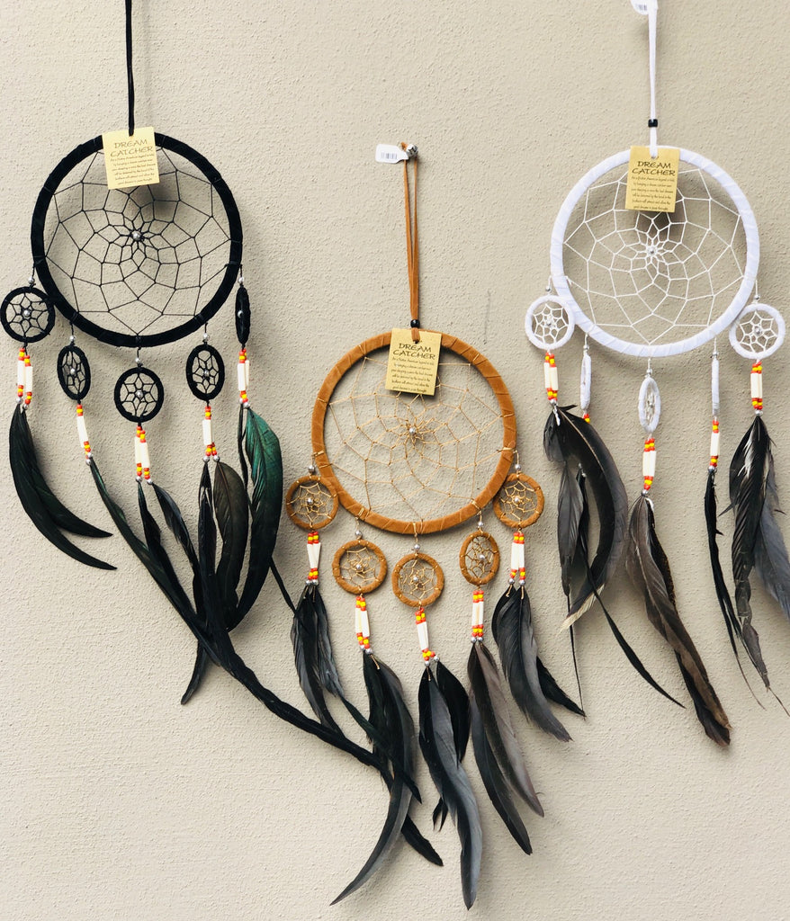Suede Dream Catchers with Swan Feathers Black, White or Natural