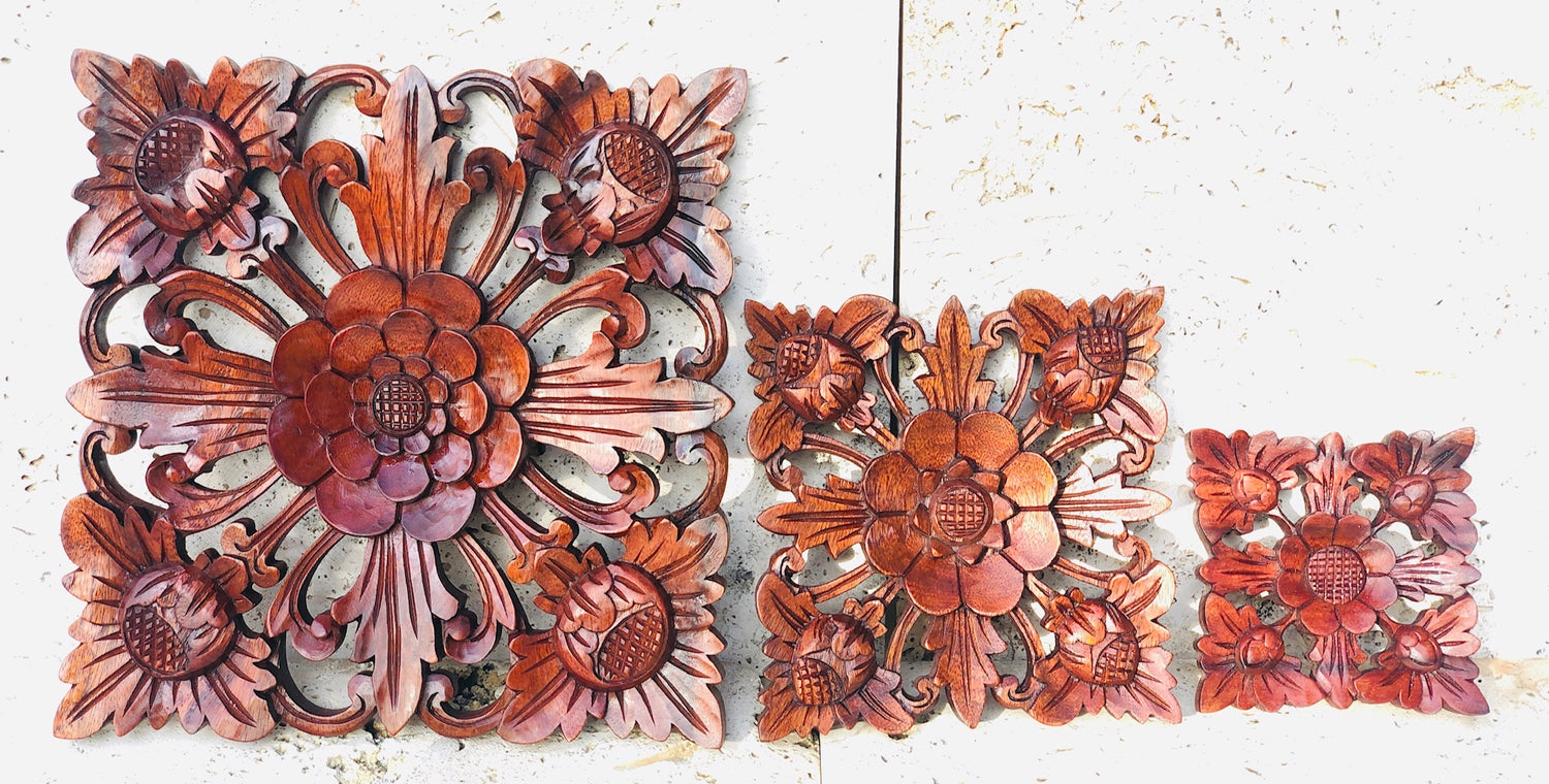 "Hand Carved Lotus Flower Mandala wall hanging 4.5"" x 4.5"""