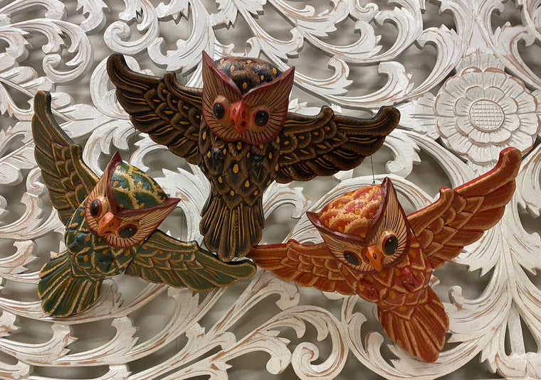 Hand Carved Flying Owl Spirit Chasers - Available in 3 Colors