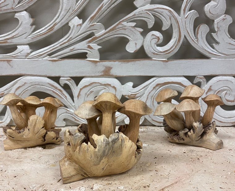 Parasite Wood Mushroom Colony Carvings - 2 Sizes Available