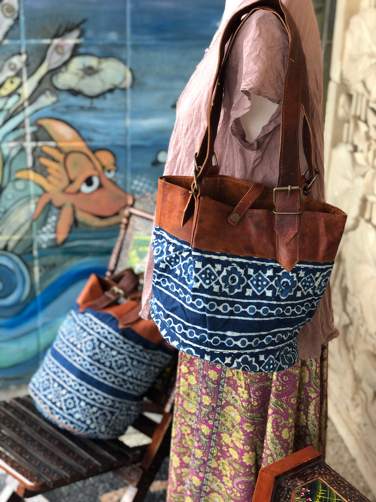 Camel Leather & Kantha fabric bag small