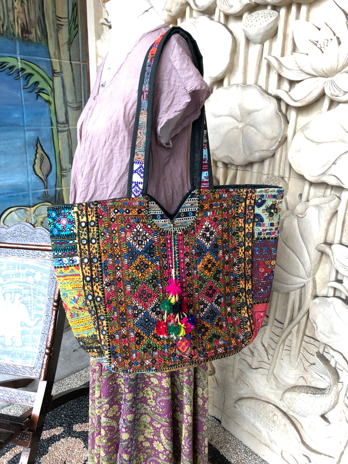 Hand Stiched Antique Rajasthani Shisha mirror Patchwork bags
