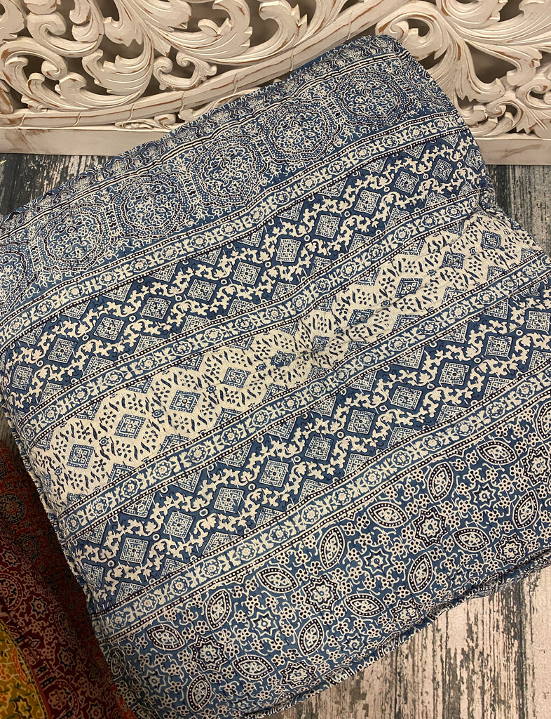 Large Square Rajashtani Kantha Fabric Floor Pillows / Ottoman - Available in 7 Colors