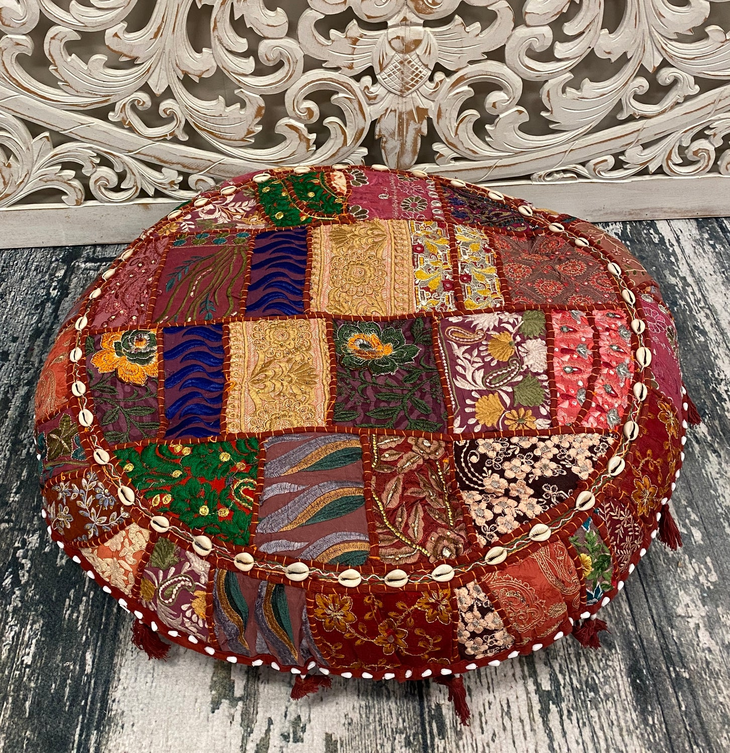 Large Embroidered Rajasthani Patchwork Floor Pillows Maroon